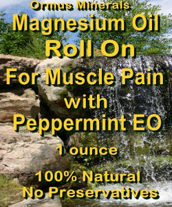 Ormus Minerals-Magnesium Oil Roll On for Muscle Pain with Peppermint Essential oil